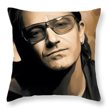 Bono U2 Artwork 2 Throw Pillow by Sheraz A