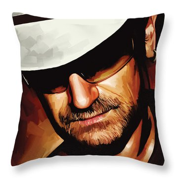 Bono U2 Artwork 3 Throw Pillow by Sheraz A