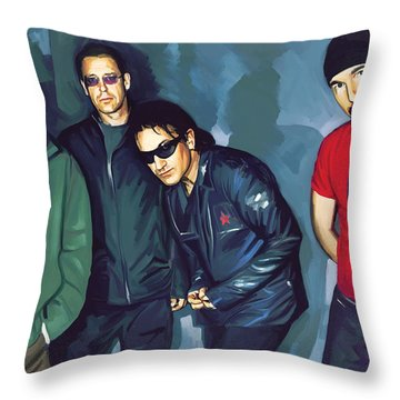 Bono U2 Artwork 5 Throw Pillow by Sheraz A