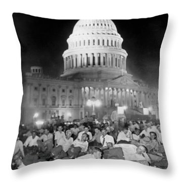 Bonus Army Sleeps At Capitol Throw Pillow by Underwood Archives