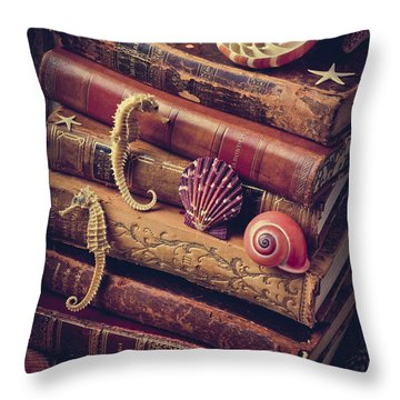 Books And Sea Shells Throw Pillow by Garry Gay