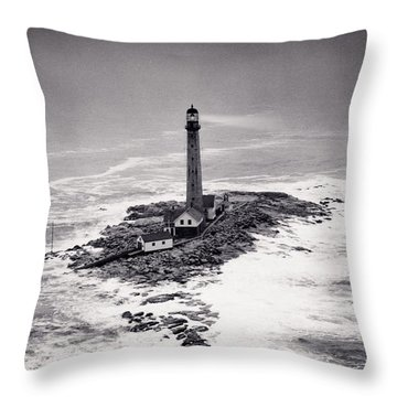 Boon Island Light Tower Circa 1950 Throw Pillow by Aged Pixel