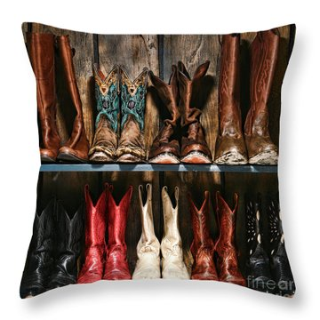 Boot Rack Throw Pillow by Olivier Le Queinec