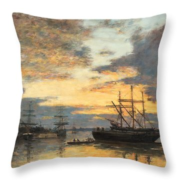 Bordeaux In The Harbor Throw Pillow by Eugene Louis Boudin