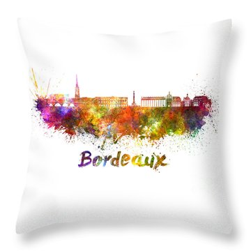 Bordeaux Skyline In Watercolor Throw Pillow by Pablo Romero