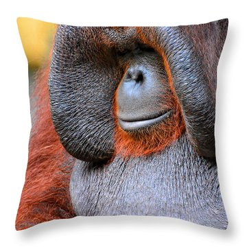 Bornean Orangutan Vi Throw Pillow by Lourry Legarde