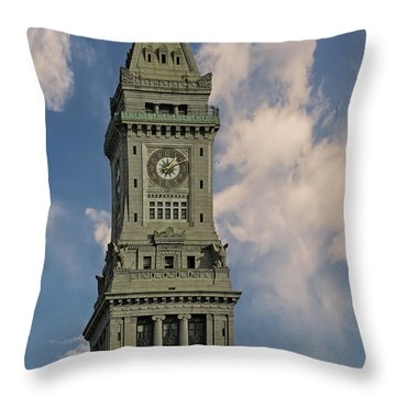 Boston Custom House Clock Tower Throw Pillow by Susan Candelario