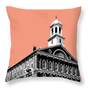 Boston Faneuil Hall - Salmon Throw Pillow by DB Artist