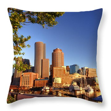 Boston Harbor Sunrise Throw Pillow by Joann Vitali
