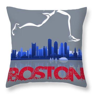 Boston Marathon3 Throw Pillow by Joe Hamilton