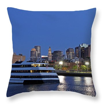 Boston Odyssey Cruise Ship Throw Pillow by Juergen Roth