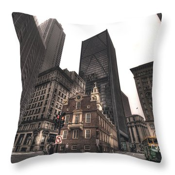 Boston Old State House Throw Pillow by Joann Vitali