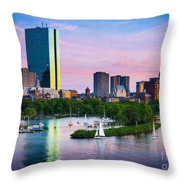 Boston Skyline Throw Pillow by Inge Johnsson
