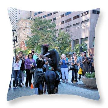 Bostonian Antics Throw Pillow by Kristin Elmquist
