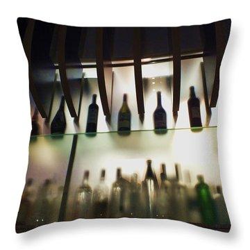 Bottles At The Bar Throw Pillow by Anna Villarreal Garbis