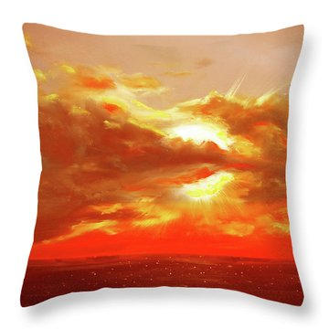 Bound Of Glory - Red Sunset  Throw Pillow by Gina De Gorna