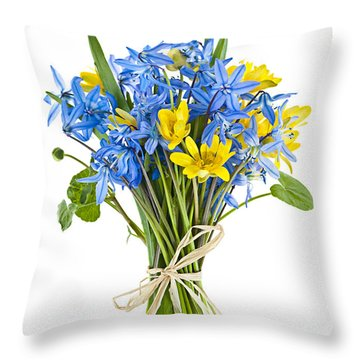 Bouquet Of Fresh Spring Flowers Throw Pillow by Elena Elisseeva