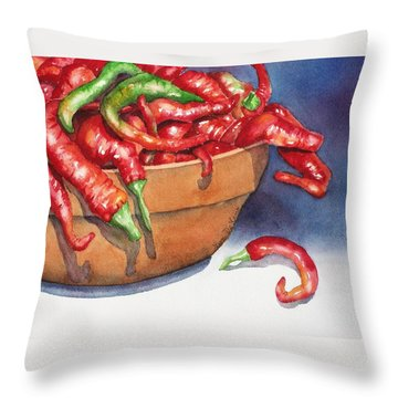 Bowl Of Red Hot Chili Peppers Throw Pillow by Lyn DeLano