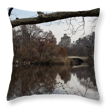Bows And Arches - New York City Central Park Throw Pillow by Georgia Mizuleva