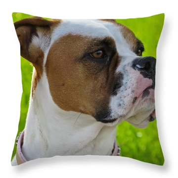 Boxer Babe Throw Pillow by Ella Kaye Dickey