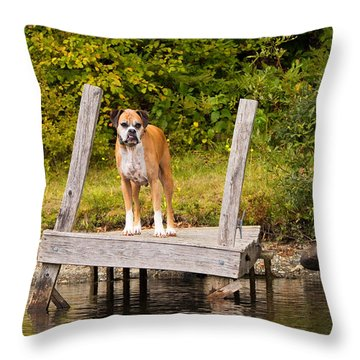 Boxer On Lake Dock Throw Pillow by Stephanie McDowell
