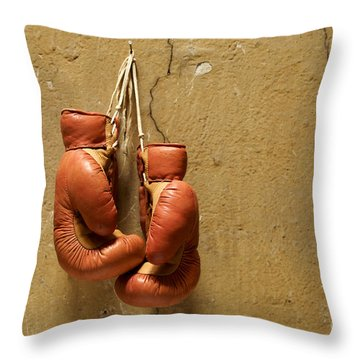 Boxing Gloves Throw Pillow by Bernard Jaubert
