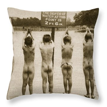 Boys Bathing In The Park Clapham Throw Pillow by English Photographer