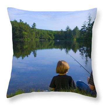 Boys Fishing Throw Pillow by Diane Diederich