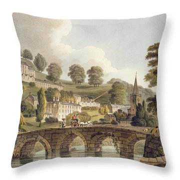 Bradford, From Bath Illustrated Throw Pillow by John Claude Nattes