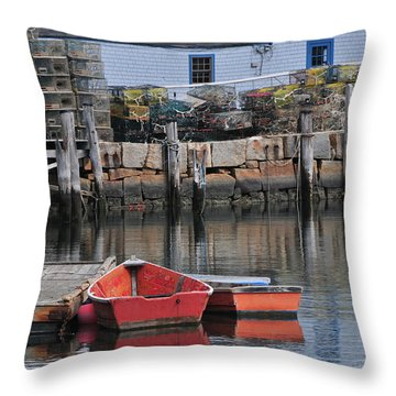Bradley Wharf Dinghies Throw Pillow by Mike Martin