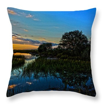 Break Of Dawn Over Low Country Marsh Throw Pillow by Savlen Art