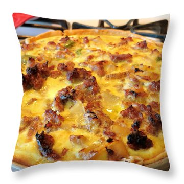 Breakfast Quiche Throw Pillow by Kay Novy