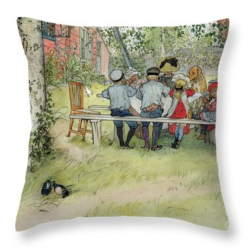 Breakfast Under The Big Birch Throw Pillow by Carl Larsson