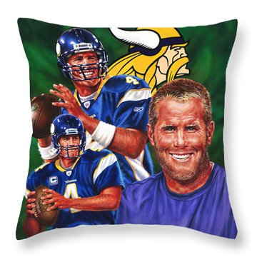 Bret Favre Throw Pillow by Dick Bobnick
