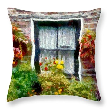 Brick And Blooms Throw Pillow by RC DeWinter