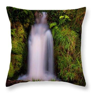 Bridal Dress. Waterfall At Benmore Botanical Garden. Nature Of Scotland Throw Pillow by Jenny Rainbow