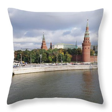 Bridge Across A River, Bolshoy Kamenny Throw Pillow by Panoramic Images