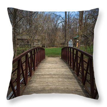 Bridge In Deep River County Park Northwest Indiana Throw Pillow by Paul Velgos