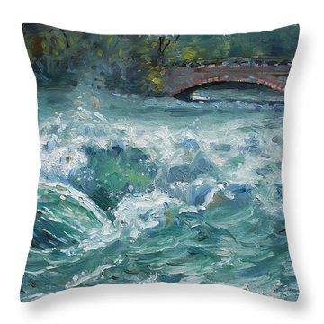 Bridge To Goat Island Throw Pillow by Ylli Haruni