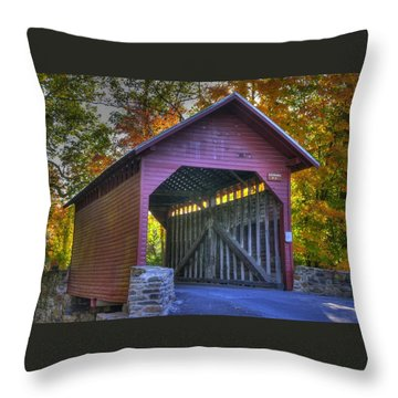 Bridge To The Past Roddy Road Covered Bridge-a1 Autumn Frederick County Maryland Throw Pillow by Michael Mazaika
