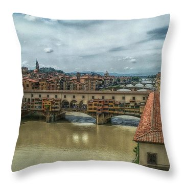 Bridges Of Florence Throw Pillow by C H Apperson