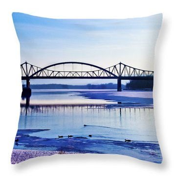 Bridges Over The Mississippi Throw Pillow by Christi Kraft