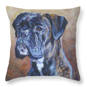 Brindle Boxer Throw Pillow by Lee Ann Shepard