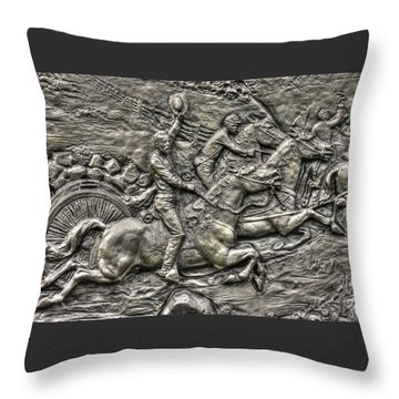 Bringing Up The Battery Detail-b 6th New York Independent Battery Horse Artillery Gettysburg Autumn Throw Pillow by Michael Mazaika
