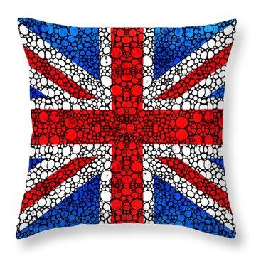 British Flag - Britain England Stone Rock'd Art Throw Pillow by Sharon Cummings