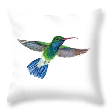Broadbilled Fan Tail Hummingbird Throw Pillow by Amy Kirkpatrick