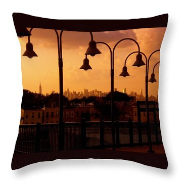 Broadway Junction In Brooklyn Throw Pillow by Monique Wegmueller