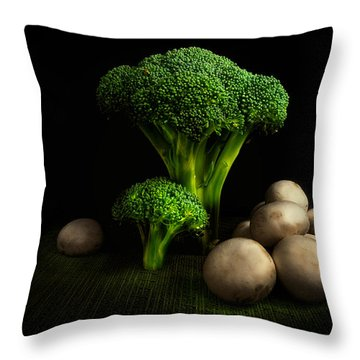Broccoli Crowns And Mushrooms Throw Pillow by Tom Mc Nemar