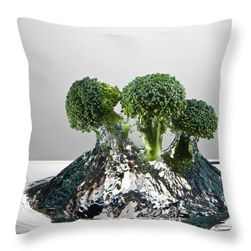 Broccoli Freshsplash Throw Pillow by Steve Gadomski