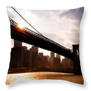 Brooklyn Bridge And Skyline Manhattan New York City Throw Pillow by Sabine Jacobs
